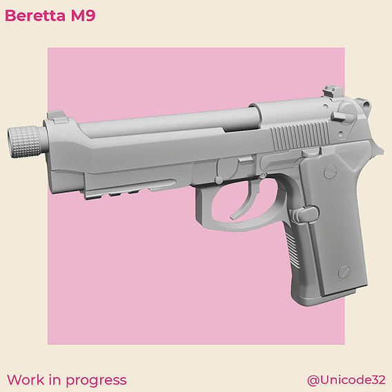 [WIP] Beretta M9 - High Poly