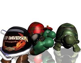 3 turtles 3D asset