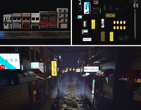 Japanese street alley Pack low-poly 3d model low-poly
