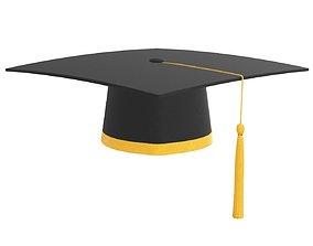 3D model graduation cap with gold tassel