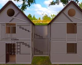 3D model House 01 white