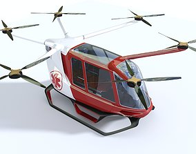 vehicle Medical Ambulance Drone with Interior 3D model