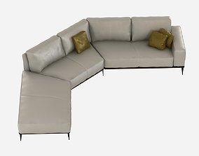 Cierre aida corner leather sofa 3D model