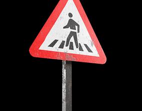 Pedestrian crossing Roadsign 3D model