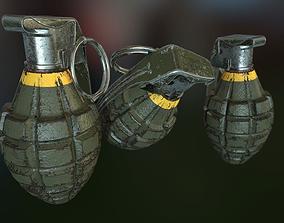 3D asset MK2 Pineapple Fragmentation grenade