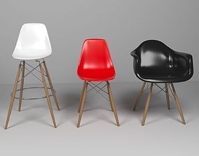 Eames Chairs set 3D model