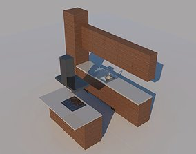 Low poly kitchen fit-out - with island 3D model