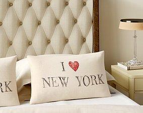 Beige-Gray Passport I Love New York Lumbar Pillow 3D model