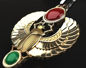 3D printable model Winged Scarab pendant classic