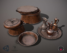 copper Dishes and pitcher Low poly PBR game ready 3D asset