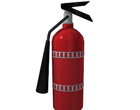 low poly fire extinguisher and wall mount 3D asset