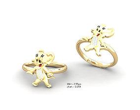 diamond Kids Micky Mouse Band Ring 3dm render detail