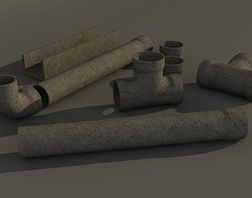 game-ready concrete pipes HD 3D Models
