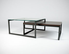 3D Coffeetable Set - Glass and Wood