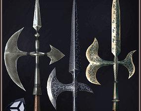 3D model 3 Medieval Halberds