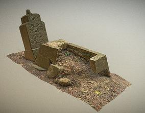 3D model Scanned photorealistic broken grave