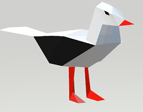 3D asset Lowpoly Seagull