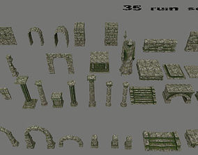 ruin set architectural 3D asset realtime