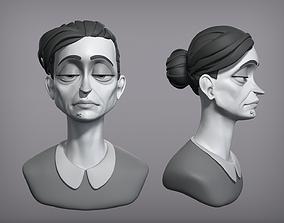 Cartoon female character Gloria base mesh 3D