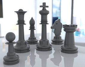 rigged 3D Chess model for 3D printing