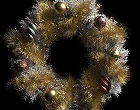 3D christmas wreath white