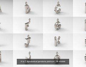 A to Z alphabetical pendants platinum 3D model