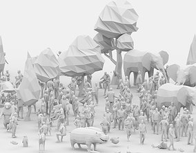 Big Low Poly Posed People and Animal Pack VR / AR ready 2
