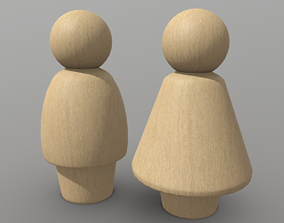 3D model Wooden Toy People