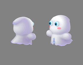 Cartoon ghost 3D model game-ready