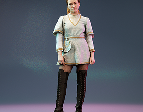3D asset Girl posing in Medieval Dress and Boots wearing
