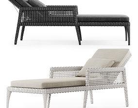 3D model Rattan chaise lounge DR50