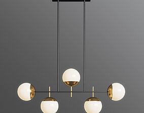 Alluria 36W Weathered Black and Gold 5 Light Island 3D