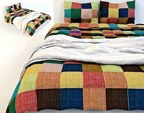 fabric Double Bed Bed Linen 3D