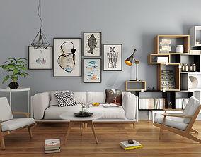 plant 3D Livingroom modern sofa set 3