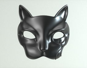 3D print model Carnival Mask - Cat with monocle