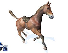 Lowpoly Horse Rigged Animated 3d model animated