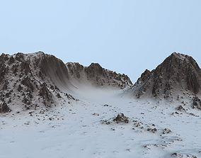 terrain 3D model low-poly snow mountain