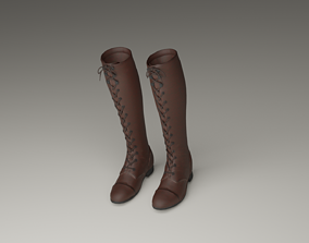 Tall Lace-Up Boots 3D model