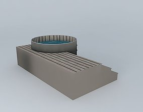 wood 3D model hot tub