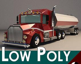 3D model Low-Poly Cartoon Tank Truck