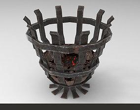 3D model Metallic ancient brazier light