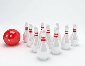Bowling balls and Pins sports 3d model low-poly