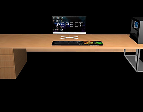 Low Poly Gaming Computer Setup 3D model