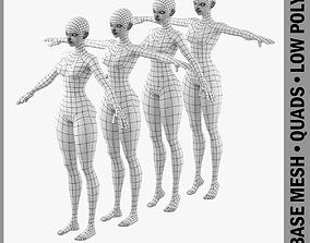 Stylized Girl Abby Fine Shape Mesh 3D model