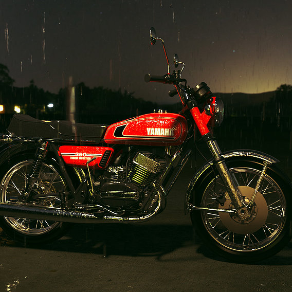 Yamaha RD350 on  a rainy evening in the hills