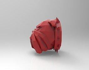 low poly bulldog dog head 3D printable model