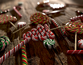 Candy canes and Christmas sweets 3D asset