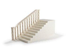 White Marble Railing 3D model