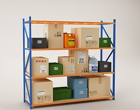 Warehouse Rack Storage 06 3D model