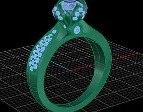 3D printable model fancy ring bezel setting diamond